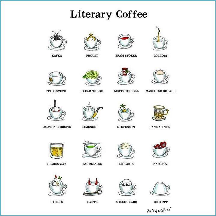 Cómo se tomarían el #café ls grandes d la literatura? Algo de cafeína (#humor) para empezar la semana! :) #BuenosDías