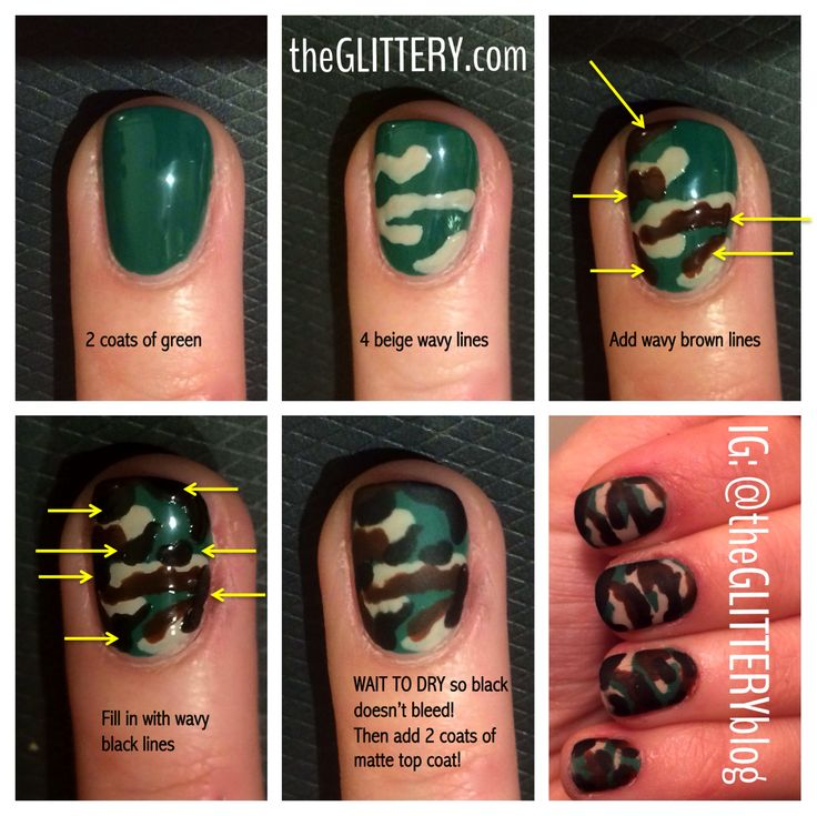 matte camouflage nail art tutorial!
