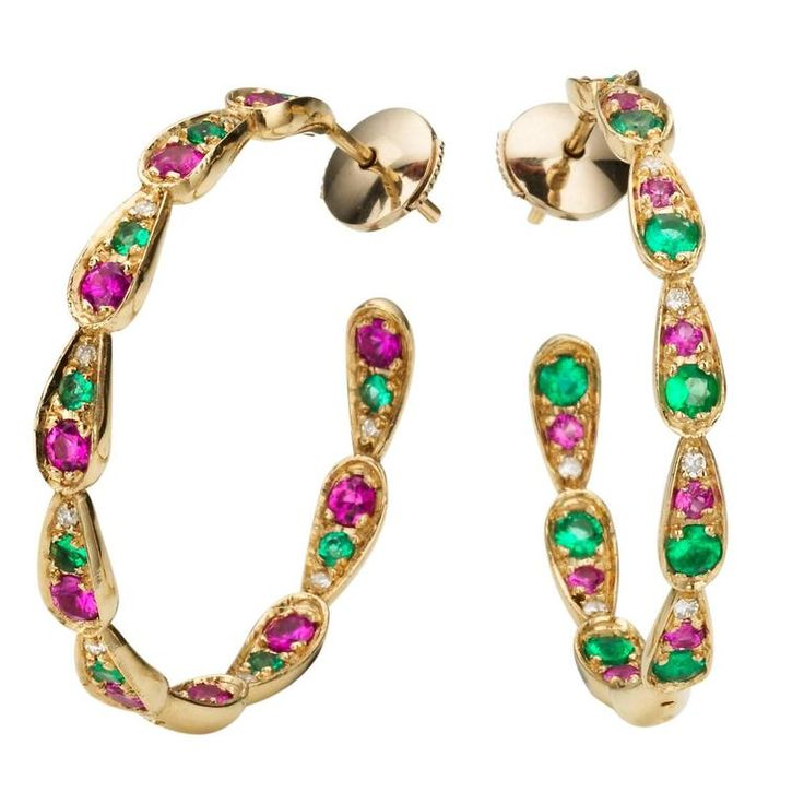 Sabine Getty 18kt Gold Harlequin Hoop Earrings with Diamond, Sapphire