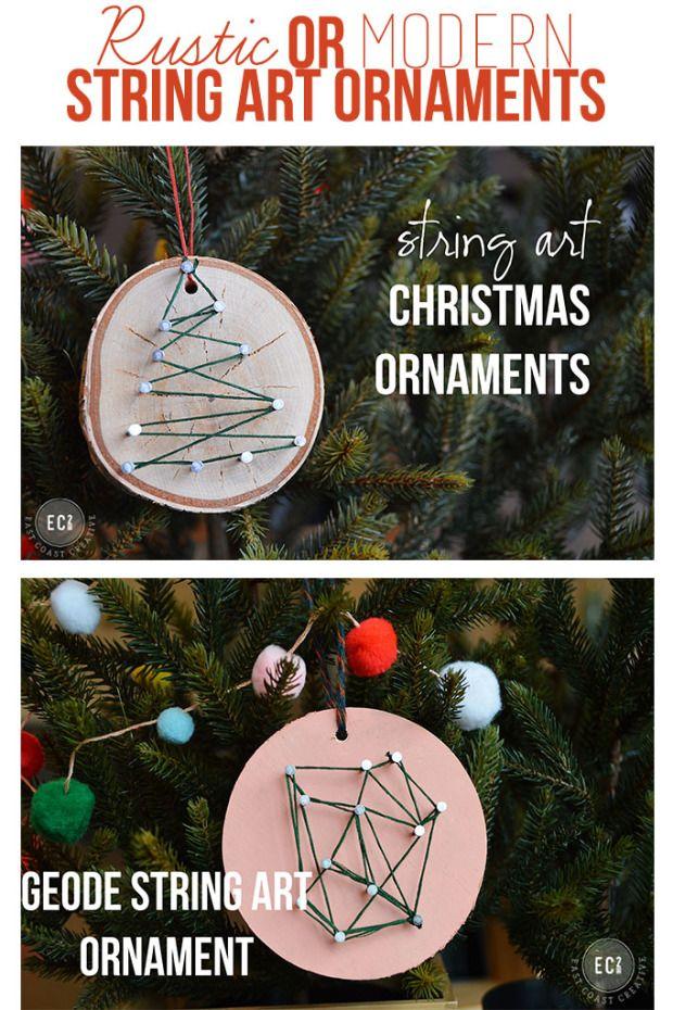 fun and creative Christmas ornaments ideas- rustic or geometric string ornament
