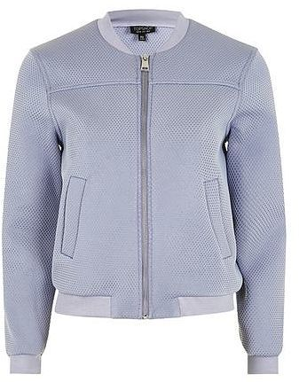 Womens light blue grey textured bomber jacket from Topshop - £59 at ClothingByColour.com