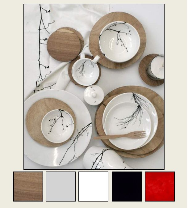 Kitchen colors... wood floors, gray walls, white cabinets, black and red accents.