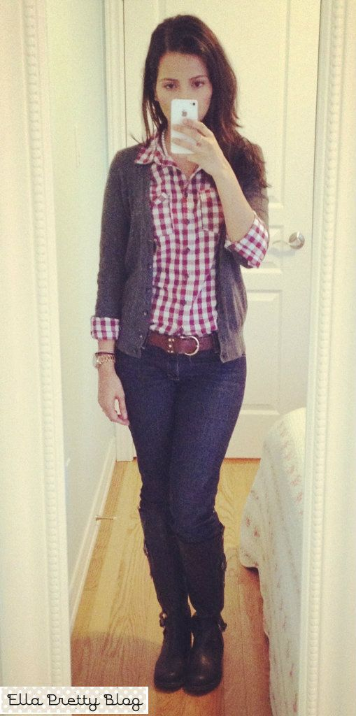 Plaid shirt under a button up sweater my style pinterest for Plaid shirt under sweater