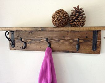 Rustic wood wall coat hook rack with shelf and 3 hooks -  vintage, distressed, iron, handmade