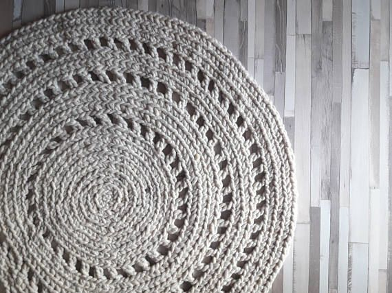 #woolrug #crochet #interiordecor https://www.etsy.com/listing/480861828/crochet-wool-round-rug-reversible