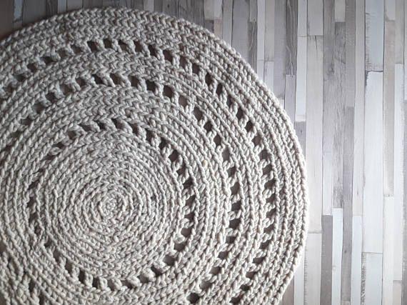 #woolrug #crochet #interiordecor https://www.etsy.com/listing/480861828/crochet-wool-round-rug-reversible