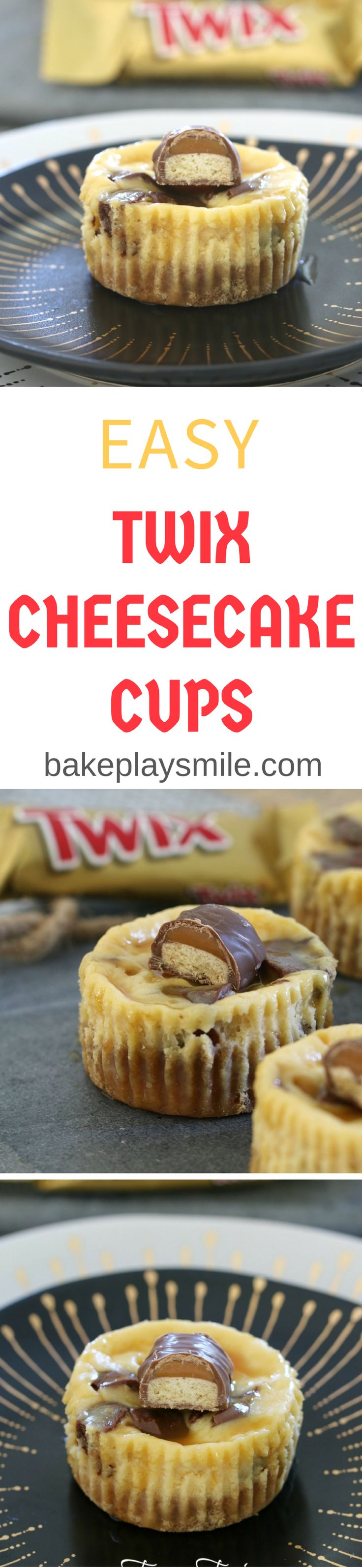 Twix Cheesecakes Cups !!! Easiest Twix Cheesecake Cups!!! Delicious mini caramel cheesecakes with chunks of Twix bars and extra caramel sauce!! These would be soooo delicious and completely addictive!