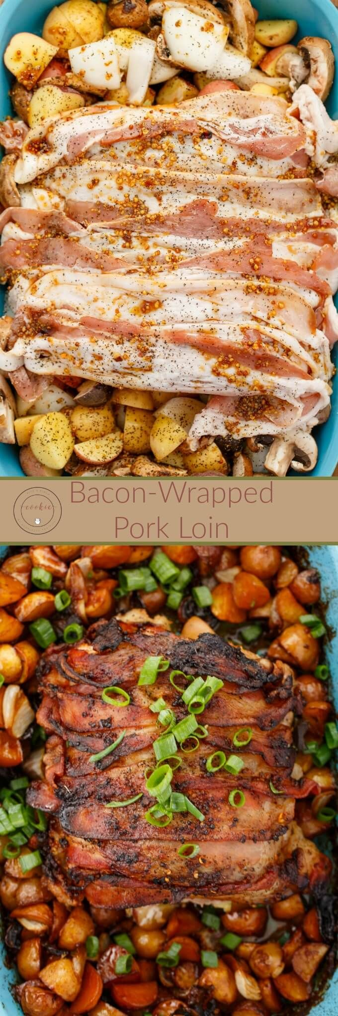Bacon-Wrapped Pork Loin | http://thecookiewriter.com | @thecookiewriter | #pork #bacon | One of my most popular recipes on the blog gets a makeover where you cook the veggies with the pork loin!
