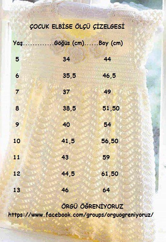 çocuk elbise ölçüleri kids dress diagram crochet