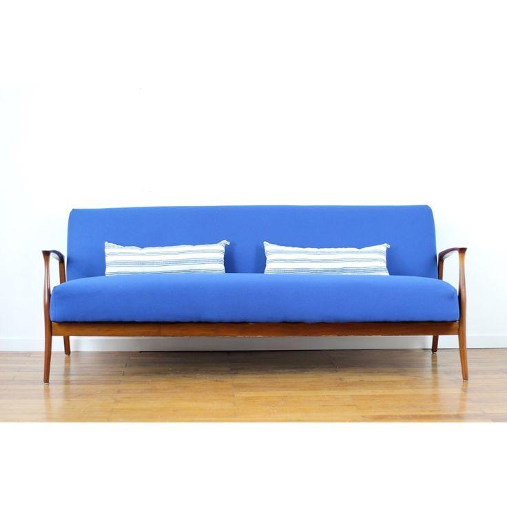 Canapé convertible vintage bleu indigo