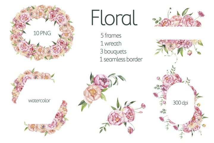 Download Watercolor Floral Frame Flower Wreath Light Arrangements 1039897 Decorations Design Bundles Floral Watercolor Floral Flower Frame