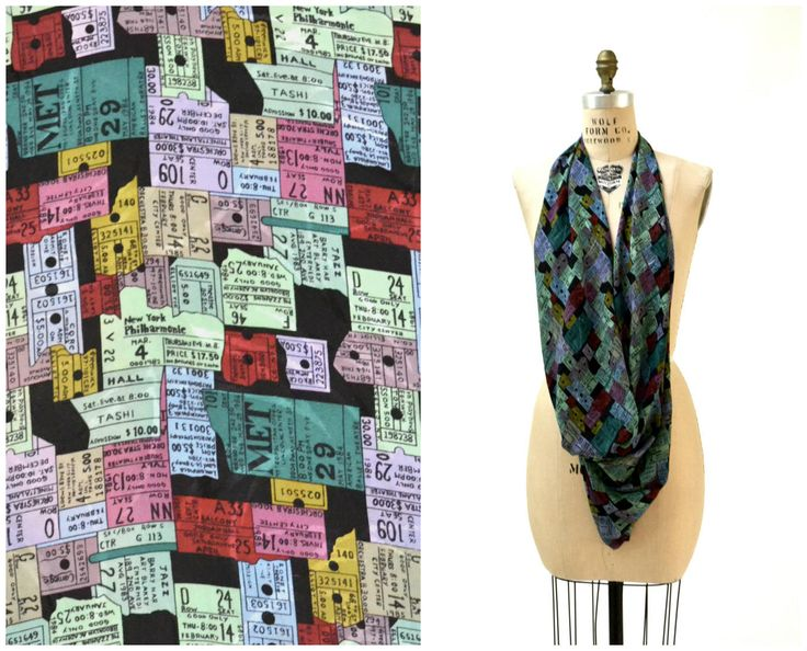 90s Vintage Nicole Miller Silk Large Scarf with New York City NYC Met Opera Tickets by Hookedonhoney on Etsy