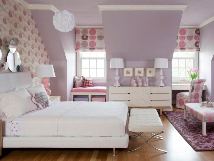 Lila Farbe Helllila Wände Dachschräge Wandtapete Mit Blumenmuster