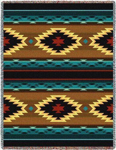 70x53-ANATOLIA-Southwest-Native-Blue-Tapestry-Afghan-Throw-Blanket