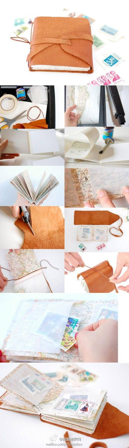 How to make a leatherbound (could certainly use faux leather / pleather) journal, step by step. It looks like they've used recycled maps, envelopes and other goodies for the pages. Cool idea - it would also work with felt.