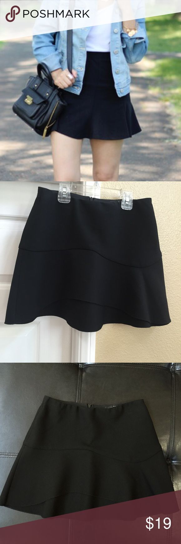 ZARA Black Skater Skirt Cutest black skater skirt by Zara. Main display photo is similar skirt, not the same one. Shows fit and length. The skirt for sale is the last three photos. Size XS. excellent condition worn once Zara Skirts Circle & Skater