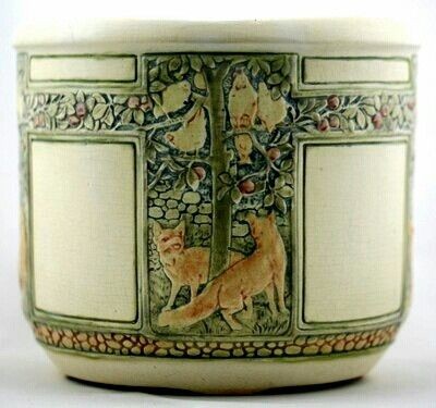 Weller creamware jardiniere, Foxes Chasing Hens in Apple Tree, arts and crafts movement, 1920s