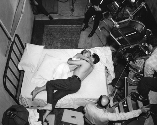 Psycho (1960)  Behind the scenes shot of Janet Leigh and John Gavin filming Psycho.