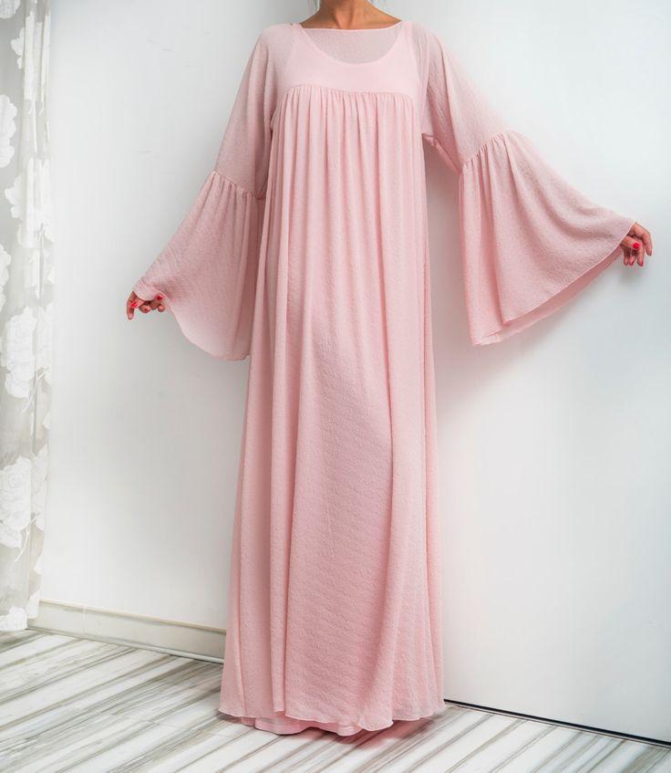 NEW SS16 Pink Maxi Dress, Chiffon dress, Abaya, Caftan, Plus size dress, Plus size clothing, Spring Summer dress, Long dress by cherryblossomsdress on Etsy https://www.etsy.com/listing/286542345/new-ss16-pink-maxi-dress-chiffon-dress