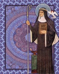 Hildegard Von Bingen - Patroness of human potential, writers, and musicians.  Saint Hildegard of Bingen 1098 – 1179 was a German writer, composer, philosopher, Christian mystic, Benedictine abbess, healer, and visionary. She composed the Ordo Virtutum ( Order of the Virtues), a religious drama, and it might be the oldest surviving morality play.