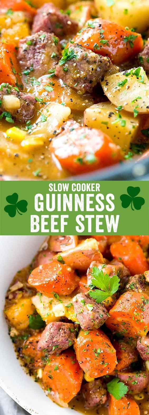 Slow Cooker Guinness Beef Stew - A hearty Irish beef stew recipe with tender pieces of corned beef and root vegetables infused with beer and blend of spices. via @foodiegavin