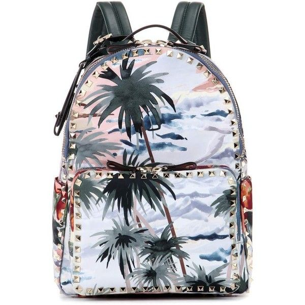 Valentino mytheresa.com Online Exclusive Printed Backpack found on Polyvore featuring bags, backpacks, multicoloured, multi color backpack, multi colored backpacks, valentino bags, day pack backpack and knapsack bags