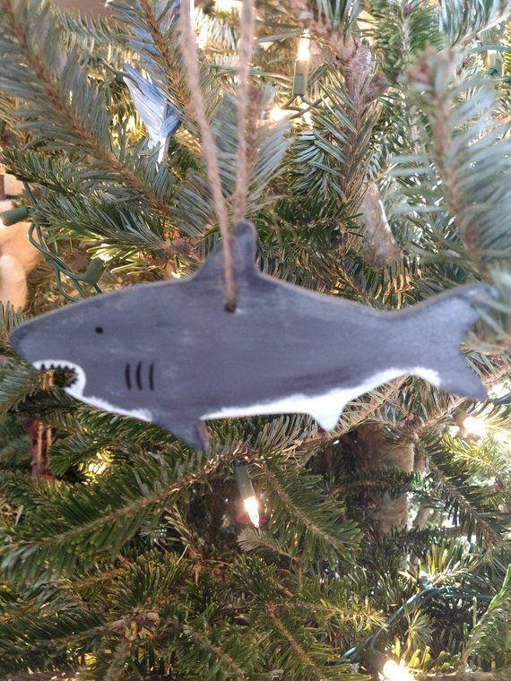 Shark Ornament - Cute Great White Shark Ornament - Shark Christmas - christmas clearance decor