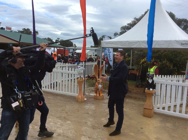 Sam Mac from Channel seven does the weather from Henty Machinery Field Days, southern NSW, Australia.