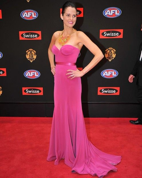 Nicole Petrie.Excelled with a gorgeous necklace. AFL Brownlow 2013