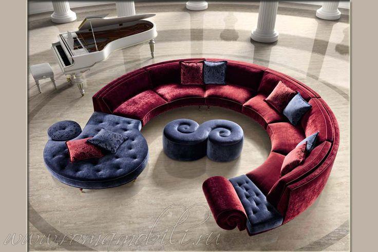 Итальянские диваны Halley Bella Vita, Халлей Белла Вита, мягкая мебель, диван модульный, закругленный, полукруглый, бархат, из Италии