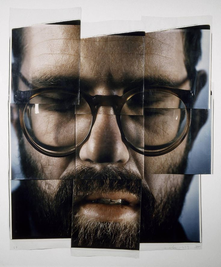 Chuck Close, art, photography, portraits, self-portrait composite in nine parts (1979 - polaroids)