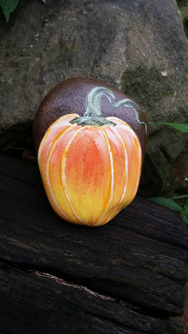 Hand Painted Candy Corn Fall Harvest Pumpkin Rock Art/Fall Decor/Home…