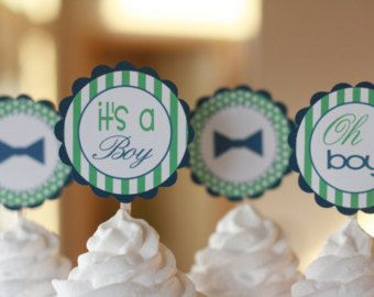 Little Man Oh Boy Green Navy Blue Bowtie Mustache Theme Baby Shower Cupcake  Toppers