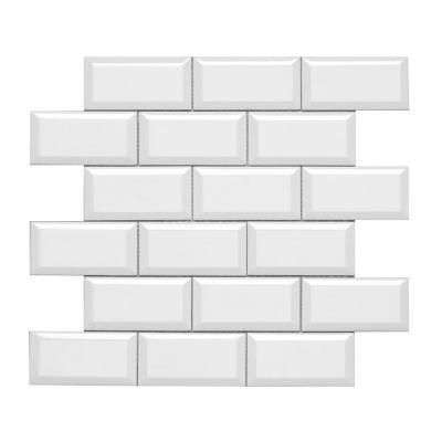 Hampton White Beveled Mosaic 2x4 Beveled Subway Tile
