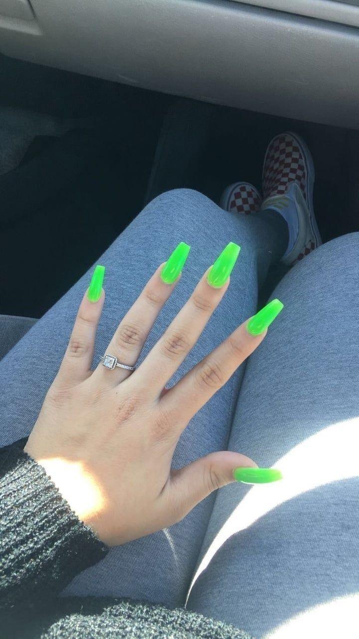 Coffin Nails Lime Green Coffin Nails Lime Green Coffinnails In 2020 Neon Green Nails Green Acrylic Nails Best Acrylic Nails