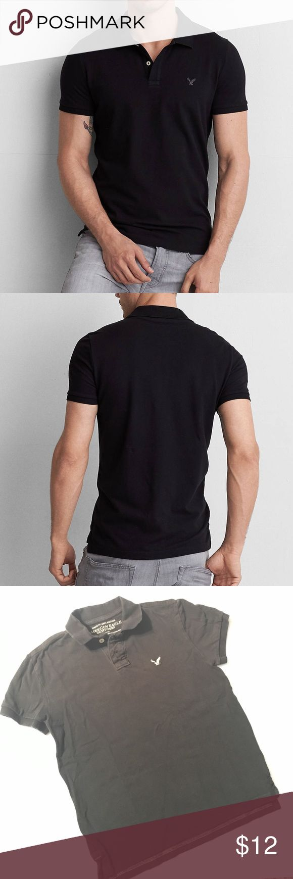 AEO Black Athletic Fit Polo Shirt Stretch pique for comfort & ease of movement Classic fit Two-button polo placket Ribbed collar and armbands Vented hem Embroidered icon at the chest  100% Cotton. In good used condition with no holes or rips.   *15% off bundles *No trades *Feel free to make an offer *Thank you American Eagle Outfitters Shirts Polos