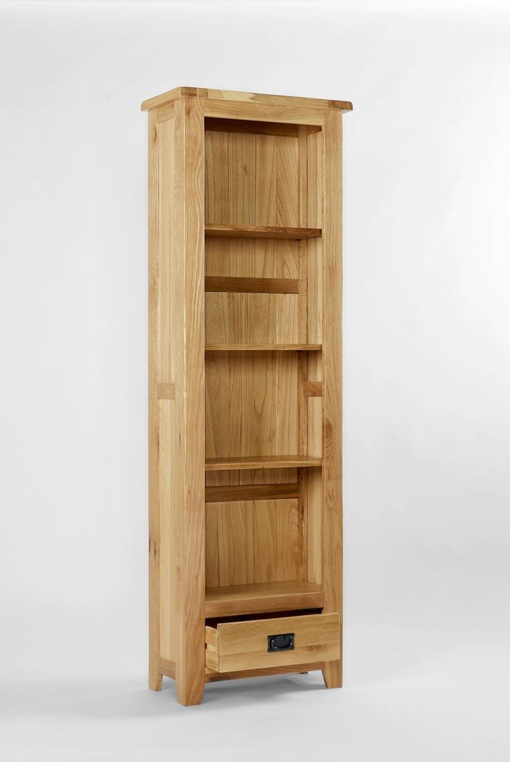 westbury oak tall narrow bookcase with drawer offers a beautiful blend of classical styling and substantial