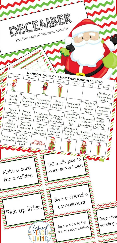 Free Christmas Calendar Random Acts Of Kindness Ideas Printable