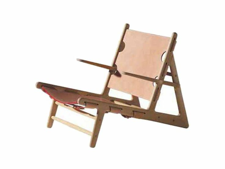 TANNED LEATHER DECK CHAIR WITH ARMRESTS THE HUNTING CHAIR BY FREDERICIA FURNITURE | DESIGN BØRGE MOGENSEN