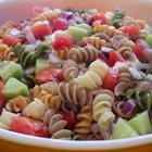 Pepperoni Pasta Salad ~ I make this salad regularly and I am not really sure where I got the recipe from but this recipe is the closest I could find to it.  First, I use a package of whatever pasta I feel like using, I prefer using a pasta that will catch some of the dressing in it so something like a shell or a penne.  I typically use: 1 cucumber peeled and quartered, 1 container of grape or cherry tomatoes, halved, 1 small can of already sliced olives, about half a bottle of zesty…