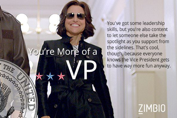 I took Zimbio's president quiz, and I am more of the VP type! What about you? #ZimbioQuiz