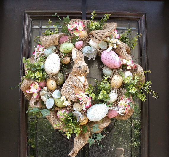 Easter Egg Wreath Easter Bunny Wreath Front Door by LuxeWreaths, $115.00
