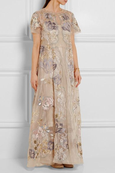 Biyan's romantic 'Gracia' maxi dress is crafted from exceptionally light champagne organza and delicate lace woven with shimmering silver threads. It's decorated with intricate floral embroidery and dusted with sequins and beads at the neckline. A smooth silk lining provides just the right amount of coverage.