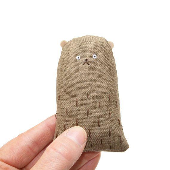 Miniature Bear, Tiny Toy Bear, Plush Bear, Handmade Bear, Softie, Cute, Woodland Creature, Brown, Poosac on Etsy, $29.60