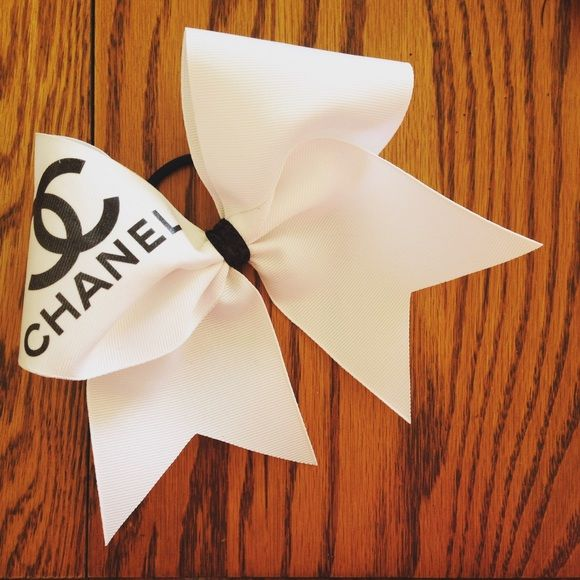 Chanel Cheer Bow Plain Black Logo. Full size cheer bow Nfinity Accessories Hair Accessories
