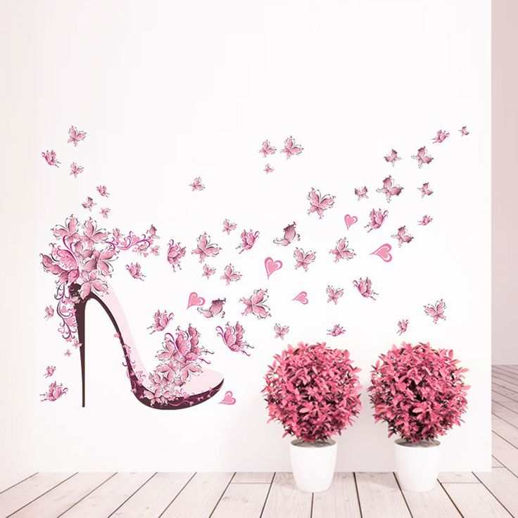 >> Click to Buy << Romantic Pink Butterfly High Heel Wall Stickers Poster House Decoration Wallpaper Furnishing For Home Bedroom Living Room Decor  #Affiliate