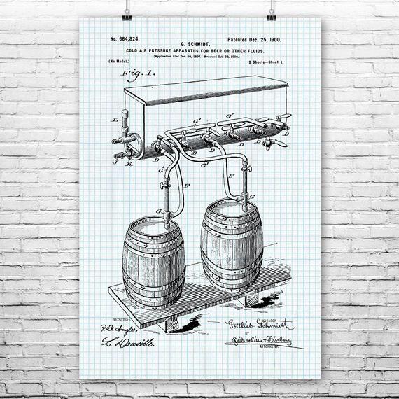 Whiskey Barrel Poster Print Microdistillery Art Craft Brewer Gift Home Bar Art