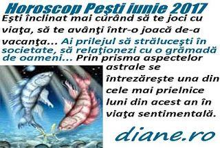 Horoscopul Peştilor iunie 2017 indică satisfacţii deosebite în traiul zilnic, o interacţiune fericită în plan social şi familial, şi dezider...