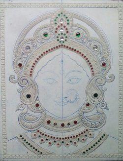 Making of Tanjore Paintings - Durga (Bengal Style) - Step by step illustration | Chola Impressions - Exquisite Tanjore Paintings, Indian Handicrafts & more