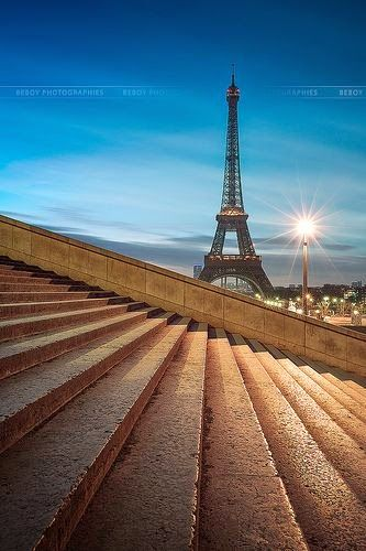 Tour Eiffel, Paris from the Trocadero. I've walked down those steps and over to the tour several times.  <3